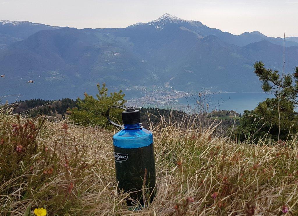 butelka, trawa, góry, widoki