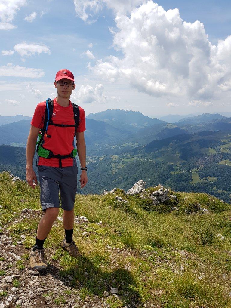 plecak, mężczyzna, krajobraz, góry
