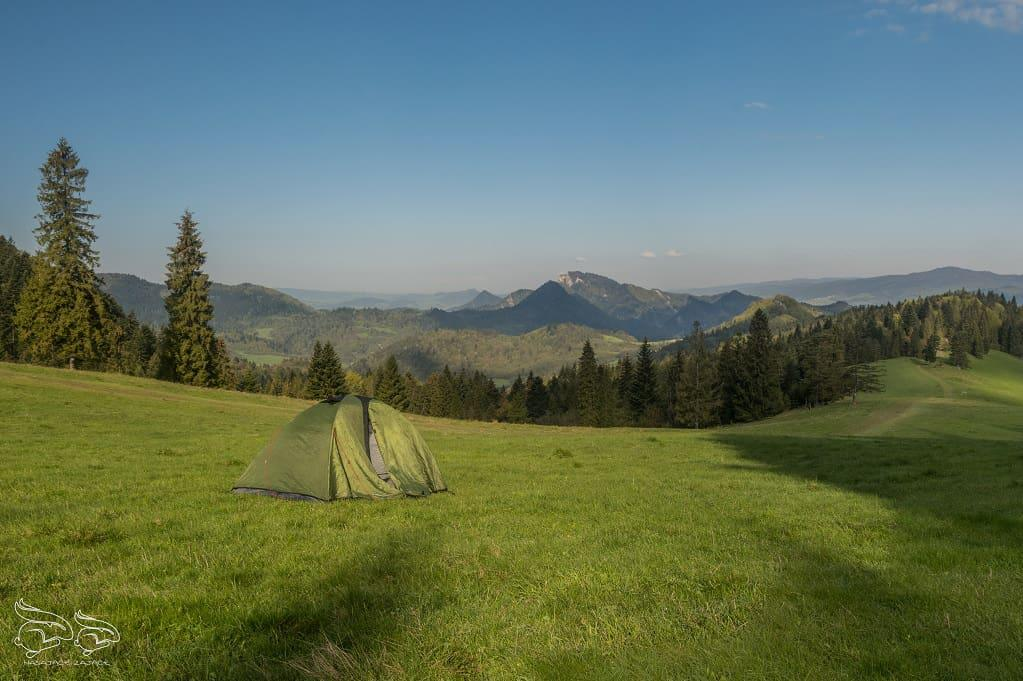 trwa, polana, namiot, góry, widok