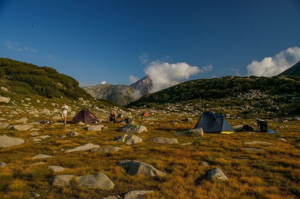 krajobraz, góy, kamienie, namiot, polana