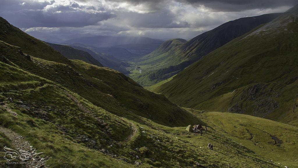 góry, dolina, niebo, krajobraz