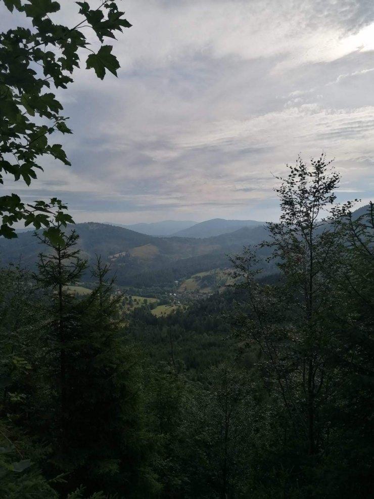 widok, góry, lasy, chmury