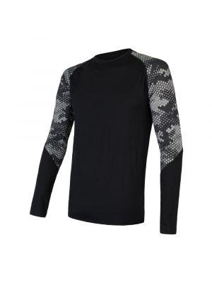 SENSOR Koszulka męska MERINO IMPRESS TEE LS black/honeycomb